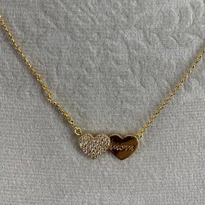 Kate Spade Gold Double Pave Mom Heart Necklace